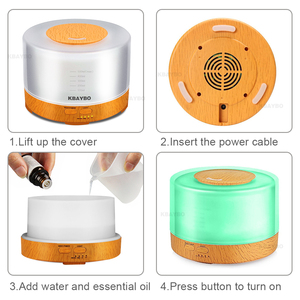 Image 5 - KBAYBO 500ml Ultrasonic Air Humidifier led light wood grain Essential Oil Diffuser aromatherapy mist maker 24V Remote Control