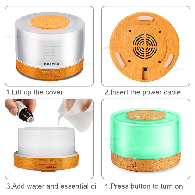 Remote Control Led Light Wood Humidifier
