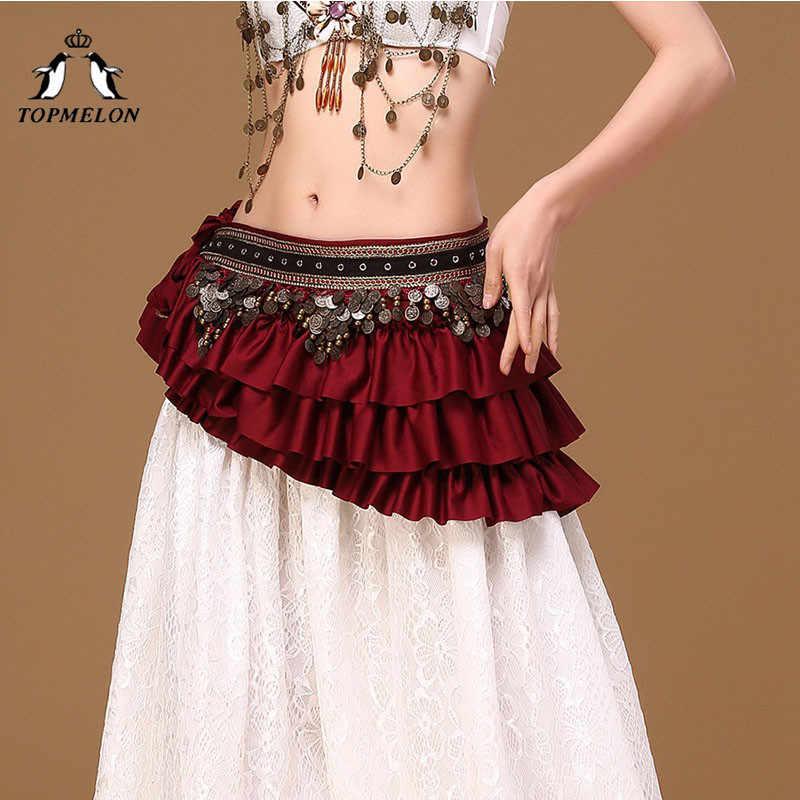 TOPMELON ראפלס עיצוב ריקודי בטן מותן חגורת לנשים אדום ירוק שחור פאייטים תכשיטי מעוטר יוקרה חגורות