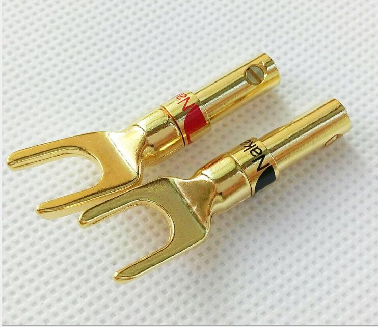 free shipping 4PCS Nakamichi Gold Plated copper Banana Spade Plug Screw Type CONNECTOR for speaker cable  high end audio grade nakamichi ac 205 24k gold plated banana plug for diy speaker cable