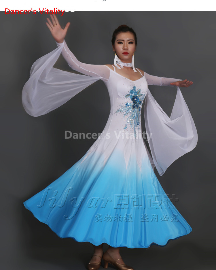 2017 New Ballroom Dance Costumes Senior Embroidery Long Sleeves Ballroom Dance Dress For Women Ballroom Dance Competition Dresse