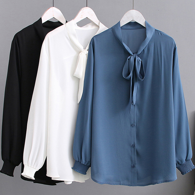 Summer Chiffon Blouses 2XL 5XL Casual Womens Fashion Bow Long sleeve Shirts white Loose Large size Stand Blouses women