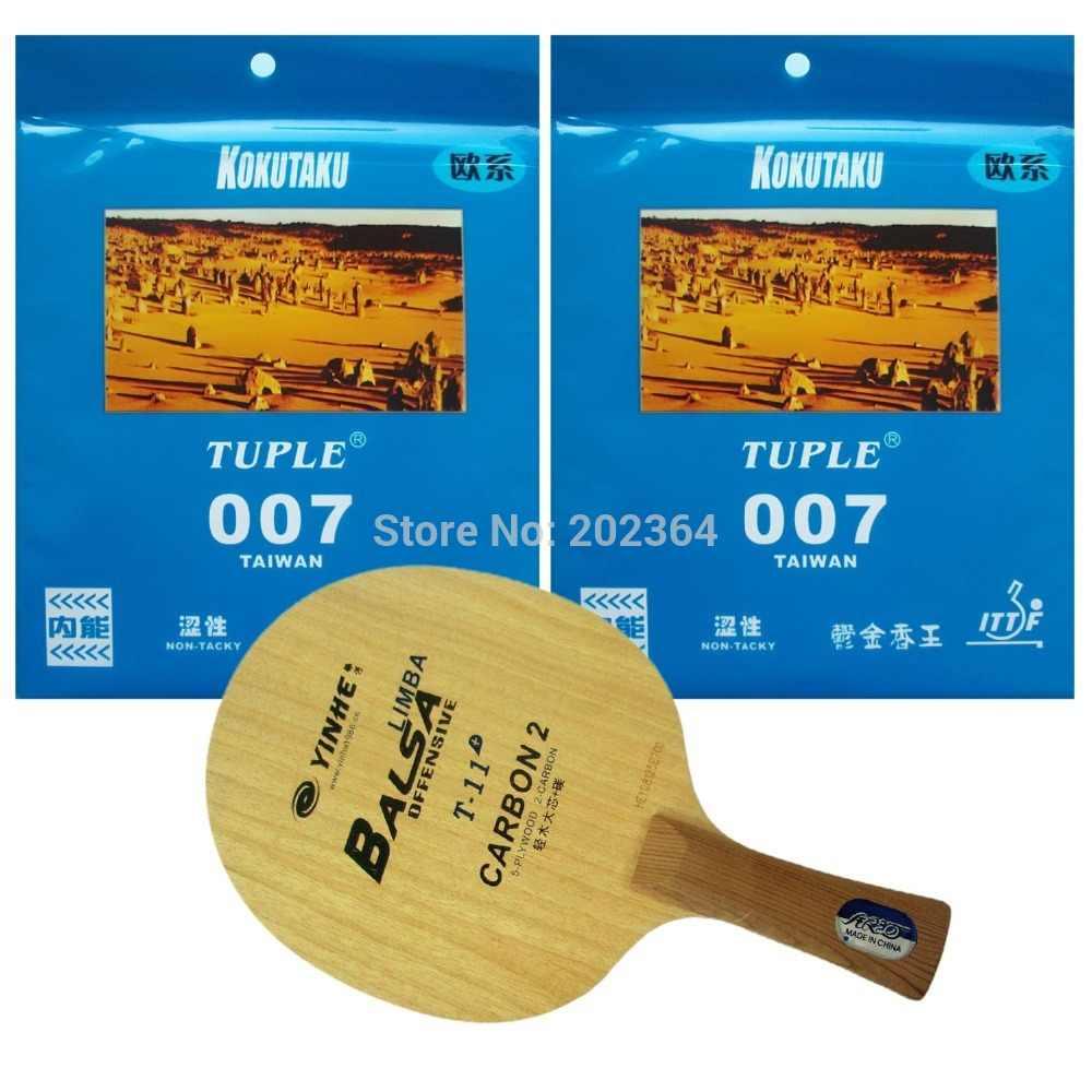 Galaxy T-11+ Table Tennis Blade With 2x Kokutaku Tuple 007 (Non Tacky) Rubber With Sponge for a Racket Long Shakehand FL