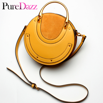 Brand Design Genuine Leather Saddle Bag Real Leather Metal Handle Women Handbag Luxury Female Shoulder Bag Lady Crossbody Bag