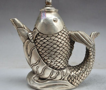 decoration brass factory outlets Tibet Silver  8″mark china chinese fengshui silver fish statue Yellow rice Wine Tea Pot Flagon