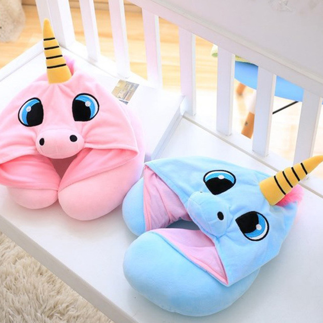 Unicorn Cute Cute Cartoon U Shaped Travel Pillows Totoro Cat Soft Hooded Neck Pillow Office Rest Cushion with A Hood 1