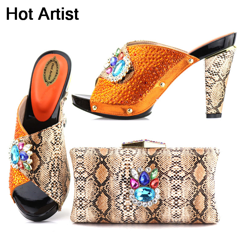 Hot Artist 2018 Orange Color Stone Shoes And Bag Set Italian Summer High Heels Slipper Shoes And Purse Set For Wedding TX-506