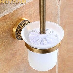 Image 1 - Antike Messing Farbe Wand Montiert Solide Aluminium Anti Rost Wc Pinsel Halter Für Badezimmer Zubehör Set Bad Produkte
