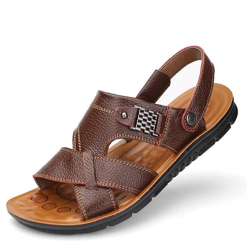 17d92e37c0b42 Man Sandals Leather Shoes Summer Men s Slippers Beach Casual Breathable Home  Slippers Men Croc Shoes Flip-Flops Zapatos 789