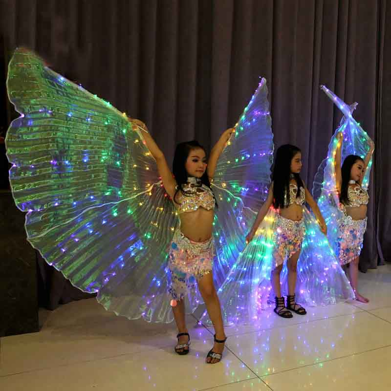Children Led Isis Bellydance Wings White Rainbow Kids Led Shining Wings Belly Dance Accessories Girls Dance Wings with Stick