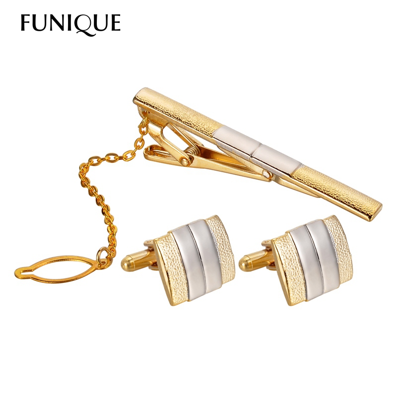 FUNIQUE 2016 Metal Enamel Cufflinks and Tie Clip Sets cufflinks For Men French Shirt High Quality Gift