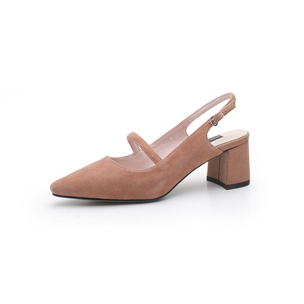 Asumer 블랙 핑크 패션 봄 가을 신발 여성 스퀘어 발 뒤꿈치 버클 우아한 여성 스웨이드 가죽 하이힐 신발-에서여성용 펌프부터 신발 의  그룹 3