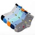 5 par/lote 2016 coche de dibujos animados de algodón A Rayas calcetines de los niños 2-10 años niños calcetines calcetines de bebé niños calcetines de las niñas