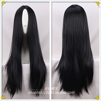 70cm/ 27 Alice: Madness Returns women cosplay wig Role play black Alice long straight black hair wig costumes