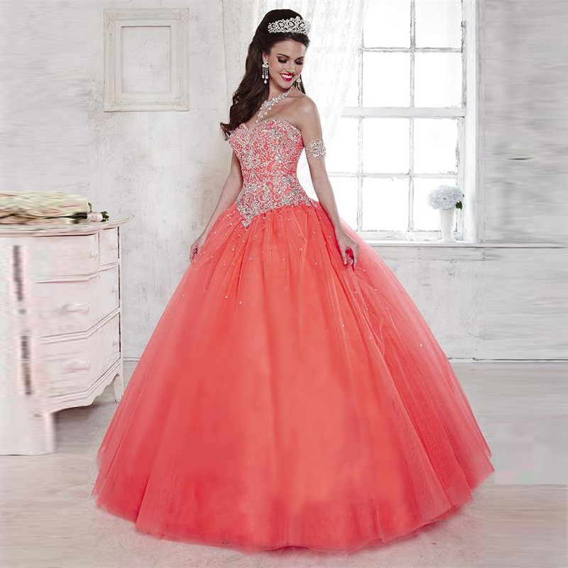 Popular Peach Quinceanera Dresses-Buy Cheap Peach Quinceanera ...