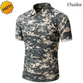 New 2016 Summer Turn-Down Collar Tactical Commando Cargo Military Camouflage Quick Drying Slim Jungle Crossfit T Shirt Men Tops