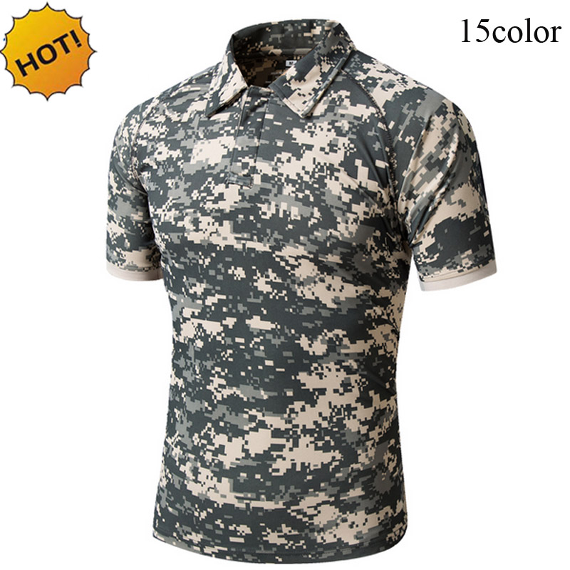 New 2018 Summer Turn-Down Collar Tactical Commando Cargo Military Camouflage Quick Drying Slim Jungle Crossfit T Shirt Men Tops