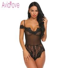Crotchless Lace Patchwork See Through Siamese Lingerie Set