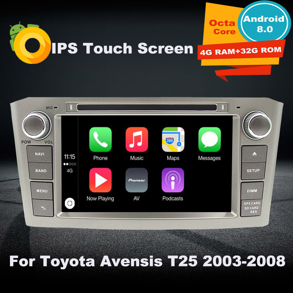 Support Apple Carplay <font><b>Android</b></font> 8.0 Car DVD GPS Multimedia Player For <font><b>Toyota</b></font> Avensis <font><b>T25</b></font> 2003-2008 Auto Navigation radio Stereo image