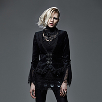 Gothic Black Good Stretch Lace Jacket Women Punk Elegant Winter Autumn Ladies Jackets Coat with Metal Button Street Party Wear
