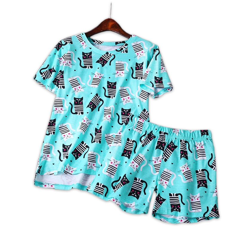 Summer cute cats short sleepwear women pyjamas shorts cartoon Simple 100% cotton women   pajama     sets   homewear ladies nightwear