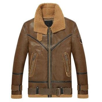 2018 Autumn and winter men's leather jacket retro motorcycle warm plus velvet PU leather jacket Windproof coat Bomber jacket