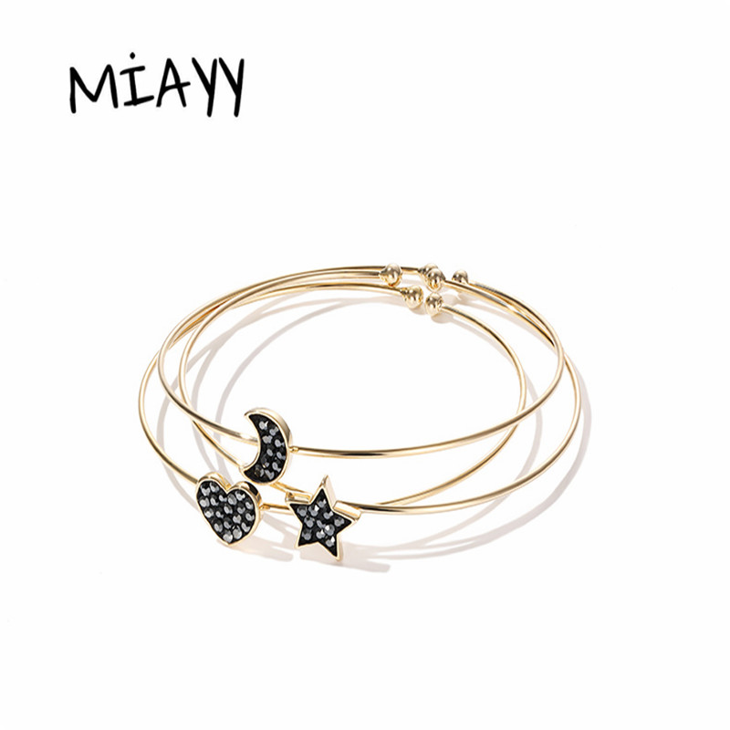 Trendy Crystal Bangles 3PCS Set Charm Bracelets Bangles For Women Star Moon And Heart Love Bangle Boho Indian Jewelry Pulseras