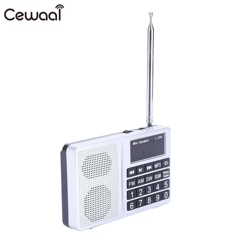Auto Mini FM AM SW LCD Radio Speaker MP3 Player with AUX USB 3.5mm Cable