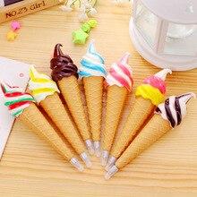 Cute Kawaii Plastic Ballpoint Pens Creative Ice Cream Ballpen Caneta Novelty Item School Supplies Free Shipping 3323