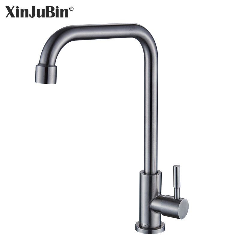 XINJUBIN 304 stainless steel Cold and Hot Water Tap mixer high quality nickel Single Cold Water Kitchen sink Faucet super high quality 304 stainless steel hot and cold no lead brushed basin safe sink kitchen faucet with german technology