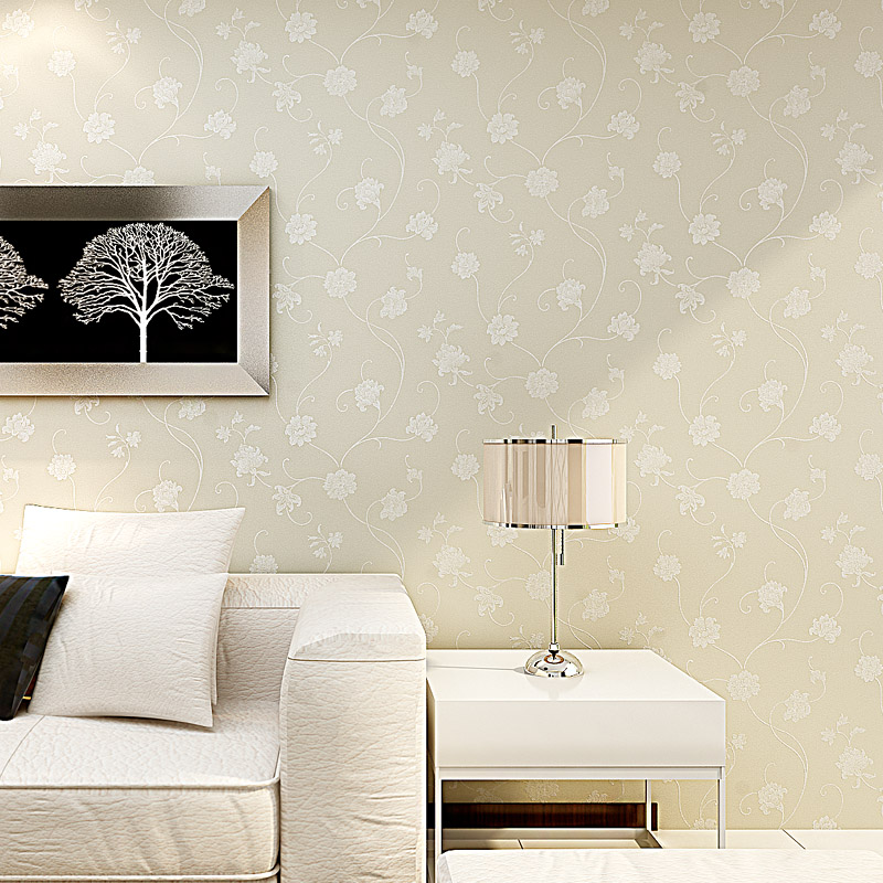 Beibehang European Style Garden Wallpaper TV Backdrop Study Nonwoven Living  Room Warm Yellow Silk Wallpaper Papel De Parede In Wallpapers From Home ...