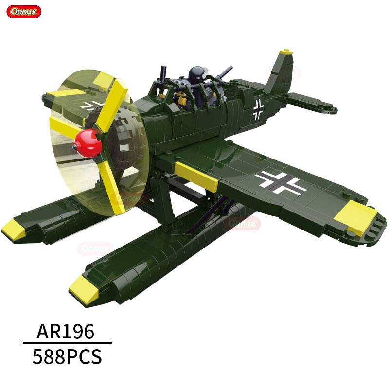 Oenux World War 2 German Hydroplane AR196 Aircraft Model Building Block Classic Military Fighter Vehicle Educational Brick Toys loz mini diamond block world famous architecture financial center swfc shangha china city nanoblock model brick educational toys