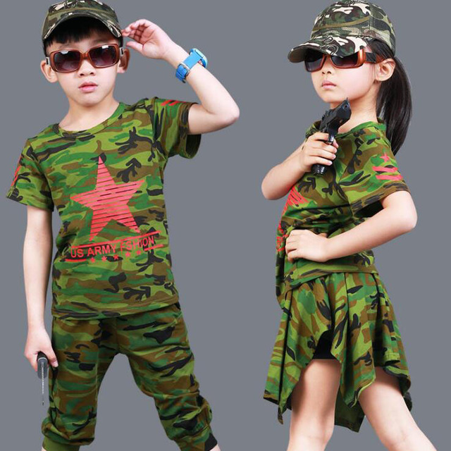 Boys Girls Summer 2 Pcs Clothing Sets Army Green Camouflage Outdoor Outfits Kids Cotton Cosplay dance Wear for 6 8 10 12 14 Yrs