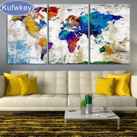 NEW 5d diy diamond painting Cross Stitch 3 piece world map full square drill Rhinestone mosaic embroidery Home Decoration gifts