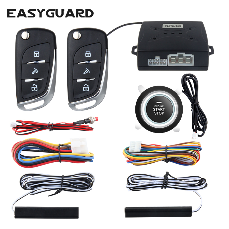 EASYGUARD car alarm system with PKE passive keyless entry remote engine start security alarm push button start auto central lock title=