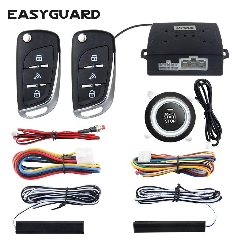 Easyguard sistema de alarme do carro com pke entrada keyless passiva remoto começo do motor alarme de segurança botão start auto bloqueio central