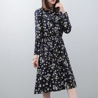 2019 Mori Girl Floral Dress Stand Collar Long Sleeve Elastic Waist Pleated Green Yellow Blue Spring Autumn Shirt Dress E1174