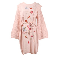GRUIICEEN new arrival long sleeve autumn knitted women dress winter floral embroidery office dress GY2018601