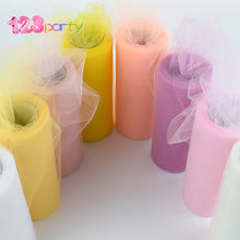 123 Party 25 yards 15cm Tulle Roll Spool Tutu Wedding Decoration Baby Shower Organza Laser DIY Crafts Birthday Party Supplies(China)