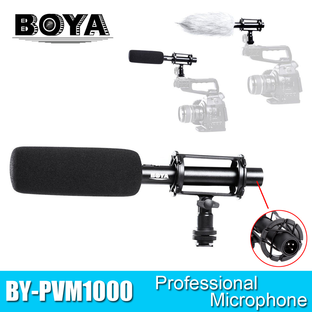 BOYA BY-PVM1000 Microphone Professional DSLR Condenser Microphone Video Interview Reporting for Canon Nikon Sony DSLR Cameras цена