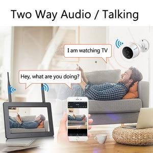 Image 4 - Techage 4ch 1080 p tela de toque sem fio lcd nvr sistema de cctv wi fi 2mp two way kit de vigilância de vídeo da câmera de áudio cartão sd registro