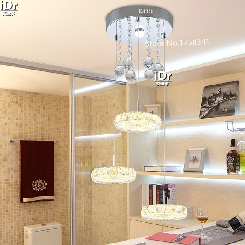 Round Three Rings Hanging Stainless Steel LED Crystal Lamp Bar Lights Cafe  Restaurant Chandelier Lamp(