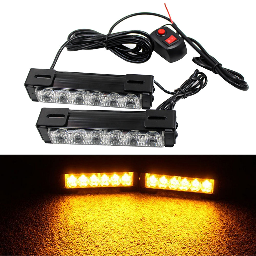 CYAN SOIL BAY 12V 2x6 LED Car Emergency Hazard Beacon Amber Strobe Warning Grille Light Bar