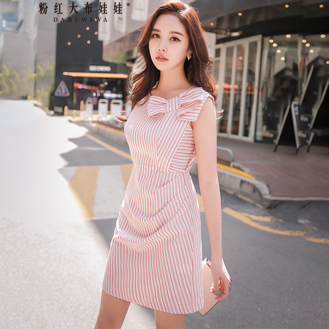 Original 2018 Brand Bow Dress Summer New Korean Temperament Casual Slim Striped Sleeveless Dresses Women Wholesale
