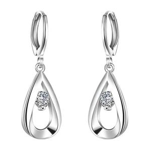 New Beautiful Fashion Color Silver Earings Jewelry For Women Cute Zircon Tear/Water Drop Dangle Statement Earrings High Quality