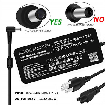 19.5V 11.8A 230W Slim Laptop Charger for Asus ADP-230GB B ROG Zephyrus GX501 GX501VI-GZ027T Ac Power Adapter