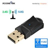 Rocketek 600 Мбит/с USB Wi-Fi Dongle адаптер, двухдиапазонный usb-адаптер Беспроводной сети LAN Card для настольных ПК ноутбуков Планшеты 802.11a/G/N/AC