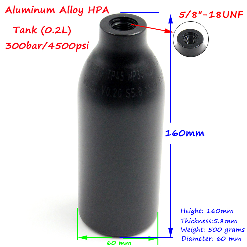 Image 4 - QUPB PCP Paintball High Pressure Cylinder 0.2L 4500PSI HPA Aluminium Air Tank w/ Regulator 5/8 18UNF 60MM Diameter TKU020-in Paintball Accessories from Sports & Entertainment