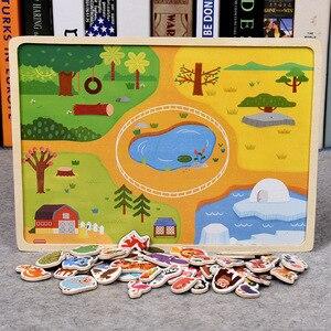 Image 5 - Rompecabezas magnético de madera para niños, juego de animales y vehículos de tráfico, juguetes educativos de aprendizaje preescolar, rompecabezas para niños