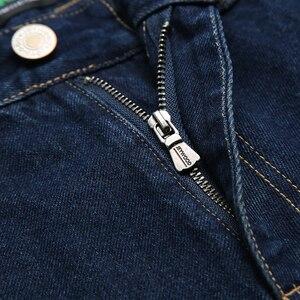 Image 3 - Kış sonbahar yüksek bel kalın pamuklu kumaş kot erkekler rahat klasik düz kot erkek kot çok cep pantolon tulum